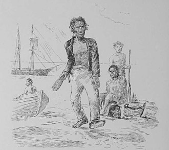 """Mokomokai - """"Bargaining for a head, on the shore, the chief running up the price"""" - sketch by H.G. Robley"""