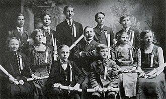Roseland Christian School - The 1910 graduating class of Roseland Christian School's 104th Street building with Jan Bovenkerk, former principal and teacher