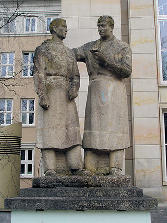 The teacher-student-monument in Rostock, Germany, honors teachers Rostock Schmidt Lehrer-Student.jpg