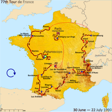 Map of France with the route of the 1990 Tour de France