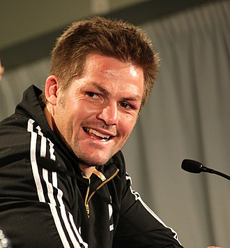 Richie McCaw is the second most capped rugby player of all time after Alun Wyn Jones, and was the first New Zealander to play 100 test matches Rugby world cup 2011 NEW ZEALAND ARGENTINA (7309681452).jpg