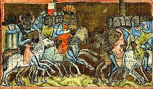 Battle of Bornhöved (1227) - Image: Sächsische Weltchronik Bornhoeved