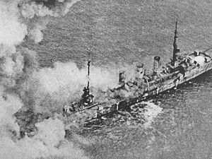 SMS Frankfurt - Frankfurt burning during bombing tests