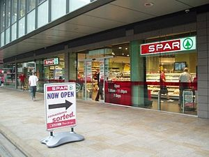 Spar (retailer) - Spar store in City Tower, Manchester, United Kingdom