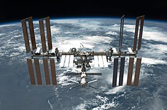The International Space Station is featured in this image photographed by an STS-134 crew member on the space shuttle Endeavour after the station and shuttle began their post-undocking relative separation. Undocking of the two spacecraft occurred at 11:55 p.m. (EDT) on May 29, 2011. Endeavour spent 11 days, 17 hours and 41 minutes attached to the orbiting laboratory.