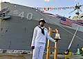 Sailor renders honors at Polaris Point, Guam. (12238872954).jpg