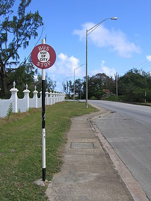 Bus stop next to Saint Andrew Parish Church, S...
