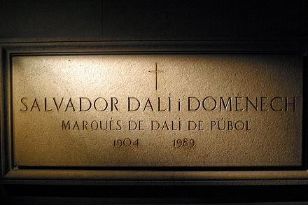 Dali's crypt at the Dali Theatre and Museum in Figueres displays his name and preferred title Salvador Dali Crypt in Figueres.jpg