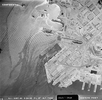 Hunters Point Naval Shipyard - Aerial photograph taken on 24 May 1945.