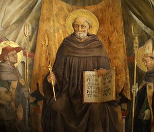 The Merciful Knight - St John Gualbert. -Fresco by Neri di Bicci, Santa Trinita in Florence