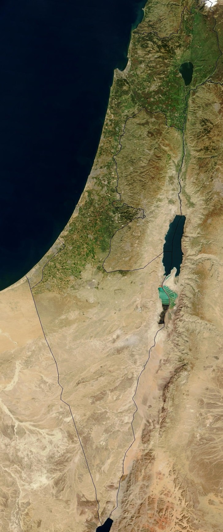 Satellite image of Israel in January 2003