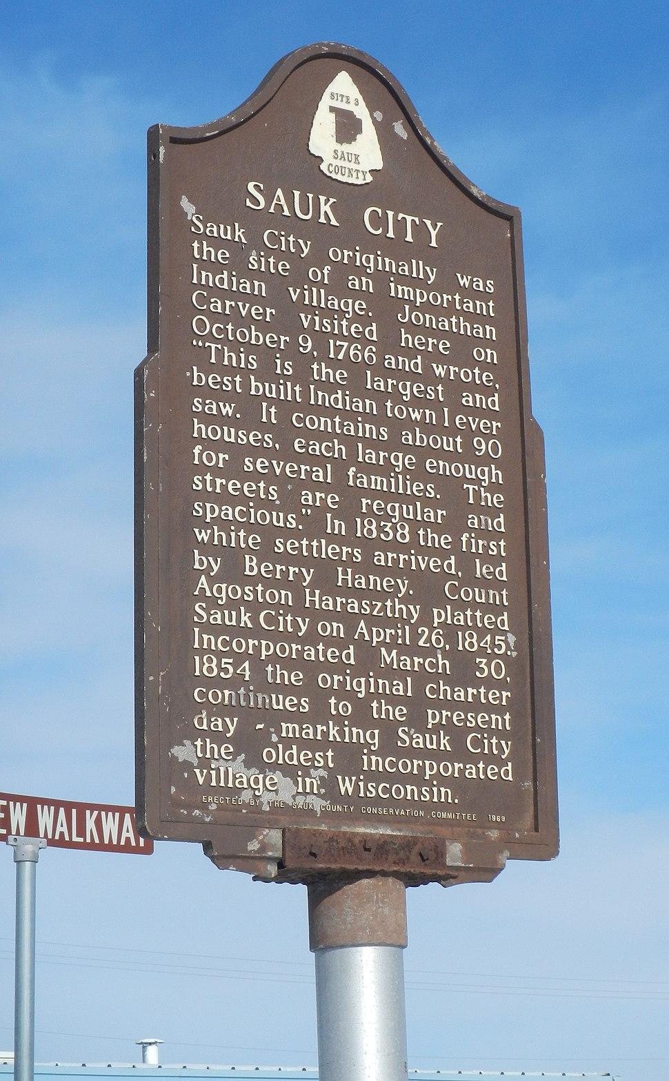 Sauk City historical marker