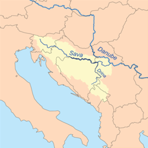 Posavina - Map of the Sava river basin; Posavina constitutes the inner regions near Sava itself