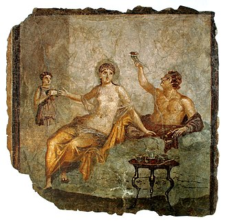Culture of ancient Rome - A late Republican banquet scene in a fresco from Herculaneum, Italy, c. 50 BC; the woman wears a transparent silk gown while the man to the left raises a rhyton drinking vessel