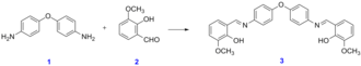 Schiff base - A mixture of 4,4'-oxydianiline 1 (1.00 g, 5.00 mmol) and o-vanillin 2 (1.52 g, 10.0 mmol) in methanol (40.0 mL) is stirred at room temperature for one hour to give an orange precipitate and after filtration and washing with methanol to give the pure Schiff base 3 (2.27 g, 97%)