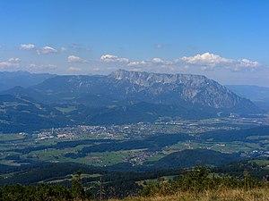 Hallein - Salzach valley with Hallein, view to Untersberg massif