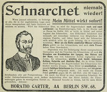 English: no snoring advertising 1906 Deutsch: ...