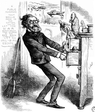 "Corruption - A political cartoon from Harper's Weekly, January 26, 1878, depicting U.S. Secretary of the Interior Carl Schurz investigating the Indian Bureau at the U.S. Department of the Interior. The original caption for the cartoon is: ""THE SECRETARY OF THE INTERIOR INVESTIGATING THE INDIAN BUREAU. GIVE HIM HIS DUE, AND GIVE THEM THEIR DUES."""