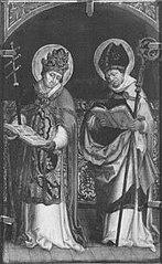 Rechter Flügel eines Altares: Kirchenväter Gregor und Ambrosius Rückseite: Landschaft (Patmos)