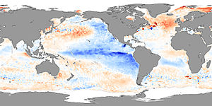 La Niña - Sea surface skin temperature anomalies in November 2007 showing La Niña conditions
