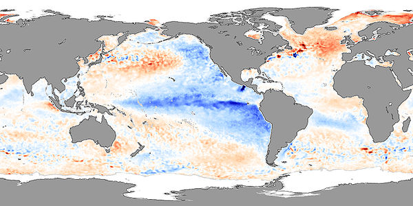 Sea surface skin temperature anomalies in November 2007, showing La Nina conditions Sea Surface Temperature - November 2007.jpg