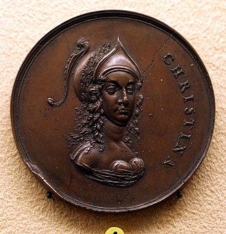 1648 in Sweden - Sebastian dattler, medaglia di cristina di svezia e la pace di westfalia, 1648