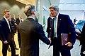 Secretary Kerry Shakes Hands With U.S. Ambassador to the EU Gardner in Brussels, Belgium (25930332012).jpg