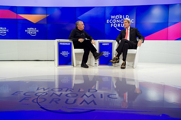 Secretary Kerry Speaks With New York Times Columnist Friedman at the World Economic Forum in Davos (32248769011).jpg