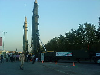 Islamic Revolutionary Guard Corps - Qiam (left) and Sejjil 2 (right) ballistic missiles in a 2012 exhibition