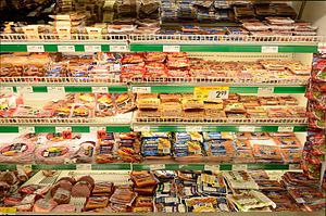 Processed meat - Various types of processed meat for sale at a grocery store