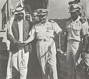 Abu Musa - Sheikh Saqr welcoming Iranian troops of Iran's destroyer ''Artemiz'' in Abu Musa, 1971