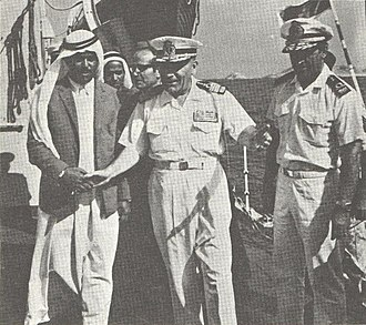 Abu Musa and the Greater and Lesser Tunbs conflict - Sheik Saghar (the brother of the Ruler of Sharjah) welcoming Iranian troops to Abu Musa and visiting Iran's Artemis navy ship, 1971