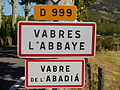 Signalisation entrée Vabres-L'Abbaye, Vabre de L'Abadiá.JPG