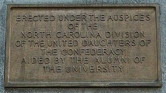 Silent Sam - Image: Silent Sam plaque inscription, left side (cropped)