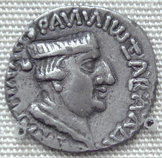 "Nahapana - Silver coin of Nahapana, with ruler profile and pseudo-Greek legend ""ΡΑΝΝΙΩ ΞΑΗΑΡΑΤΑϹ ΝΑΗΑΠΑΝΑϹ"", transliteration of the Prakrit ""Raño Kshaharatasa Nahapanasa"" (or ""King Kshaharata Nahapana""). British Museum."