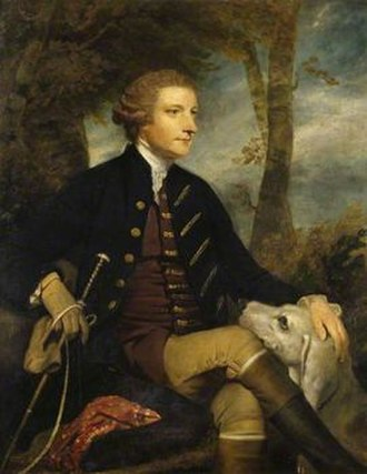 Devon and Somerset Staghounds - Sir Thomas Dyke Acland, 7th Baronet (1723–1785) painted in 1767 by Sir Joshua Reynolds. The bloodline of the large staghound with its head on his knee was lost when the pack was sold to Germany in 1824, and later rebuilt from foxhounds. Two identical versions exist, both owned by the National Trust, one at Saltram House, the other at Killerton House, both in Devon