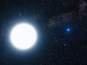A-type main-sequence star - An artist's impression of Sirius A and Sirius B. Sirius A, an A-type main-sequence star, is the larger of the two.