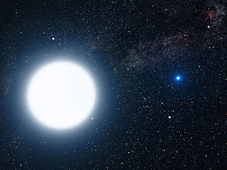 A-type main-sequence star - An artist's impression of Sirius A and Sirius B, a binary star system. Sirius A, an A-type main-sequence star, is the larger of the two.