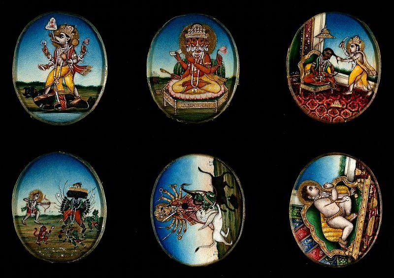 File:Six circular gouache paintings of Hindu gods, 19th century Wellcome V0047493.jpg