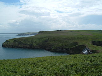 Skomer - North Haven showing the Warden's House