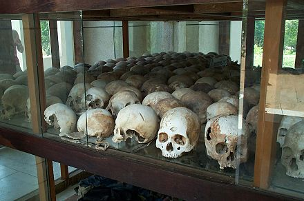 During the Khmer Rouge regime led by Pol Pot, 1.5 to 2 million people died due to the policies of his four-year premiership. Skulls from the killing fields.jpg