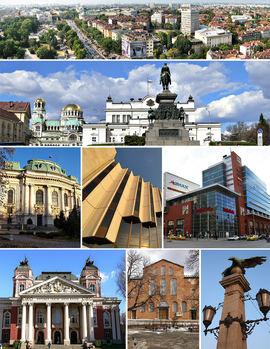 From top left: Tsarigradsko shose, National Assembly Square, Sofia University rectorate, National Palace of Culture detail, Mall of Sofia, Ivan Vazov National Theatre, Holy Sophia Church, Eagles' Bridge detail