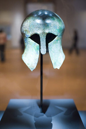Sohn Kee-chung - The Corinthian helmet that was awarded to Sohn Kee-chung, on display at the National Museum of Korea.