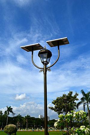 Solar lamp - A solar lamp in Rizal Park, Philippines
