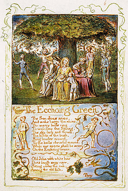 """william blake the echoing green The ecchoing green by william blake is a three-stanza poem that embodies an aabbccddee rhyme scheme throughout its course to present a theme that's as beautiful as it is melancholy the beauty comes in the form of life enjoyment that's showcased through the children playing in the fields as a character, """"old john,"""" watches, but the melancholy is subtly dealt with in the guise of an."""