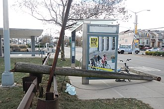 South Beach, Staten Island - Utility pole smashed by Hurricane Sandy