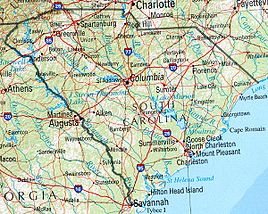 Geographische Karte South Carolinas