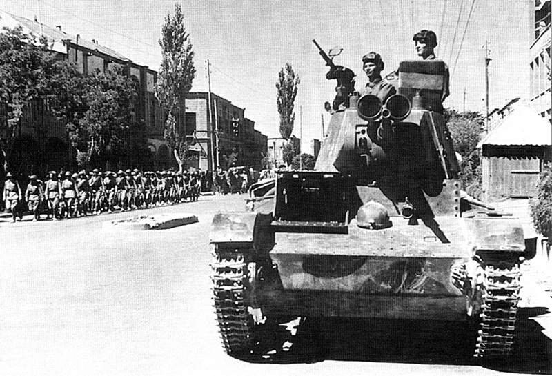 Soviet tankmen of the 6th Armoured Division drive through the streets of Tabriz (2)