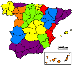 1833 territorial division of Spain - Map of the similar 1822 territorial division of Spain. The 1822 territorial division only defined provinces; the historical regions indicated by colors were not defined until 1833.