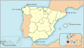 Estaca De Bares Mapa.List Of Extreme Points Of Spain Wikipedia